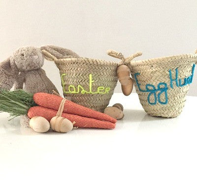 'Easter' / 'Egg Hunt' Embroidered Mini Basket