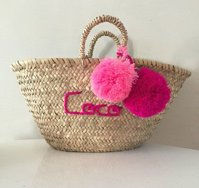 Personalised Embroidered Mini Pom Pom Beach Basket