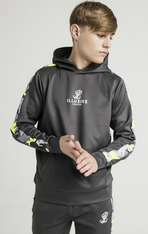 Sudadera Illusive AW/19 Panelled Hoodie - grey/neon green - Puber Sports