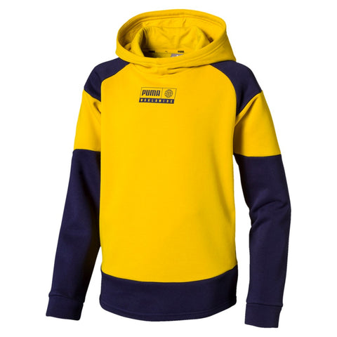 Sudadera niño Puma ALPHA ADVANCED HOODY FL B 580236 amarillo - Puber Sports