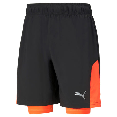 "Short running hombre PUMA RUN FAVORITE WOVEN 2 en 1 7"" 520217 negro naranja"