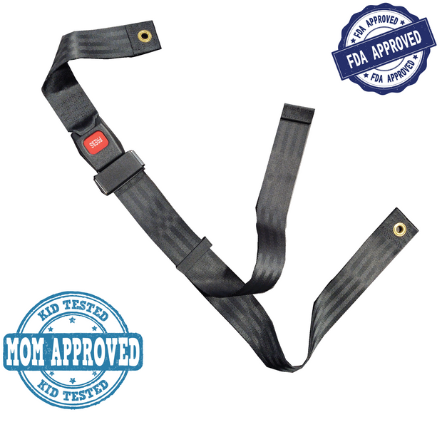 "Wheelchair Seat Belt up to 48"" Auto Style Metal Buckle"