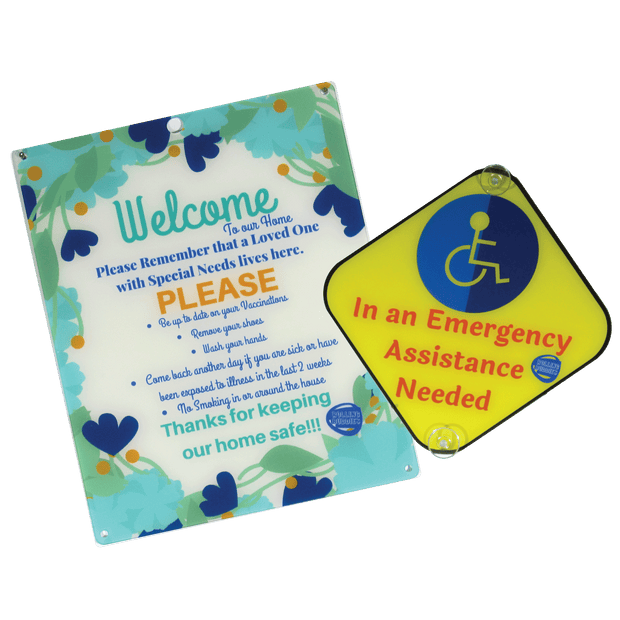 Bundle Special Needs Flower Design Plastic Door and Emergency Car Plastic Sign