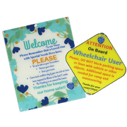 Bundle Special Needs Flower Design Plastic Door and Wheelchair User On Board Plastic Sign