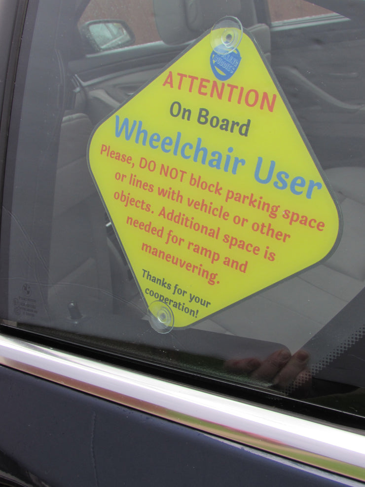 Wheelchair User On Board Car Sign