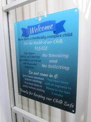 Medically Fragile Child Sign - Blue
