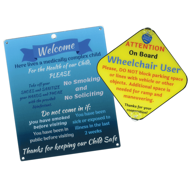 Bundle Medically Fragile Blue Design Plastic Door and Wheelchair User On Board Plastic Sign
