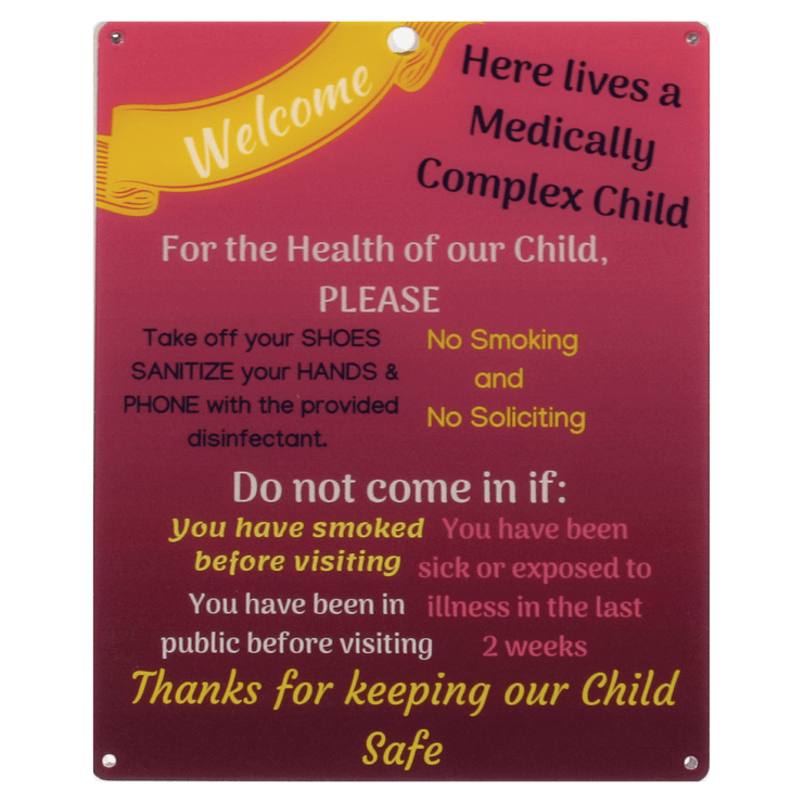 Medically Fragile Child Sign - Red