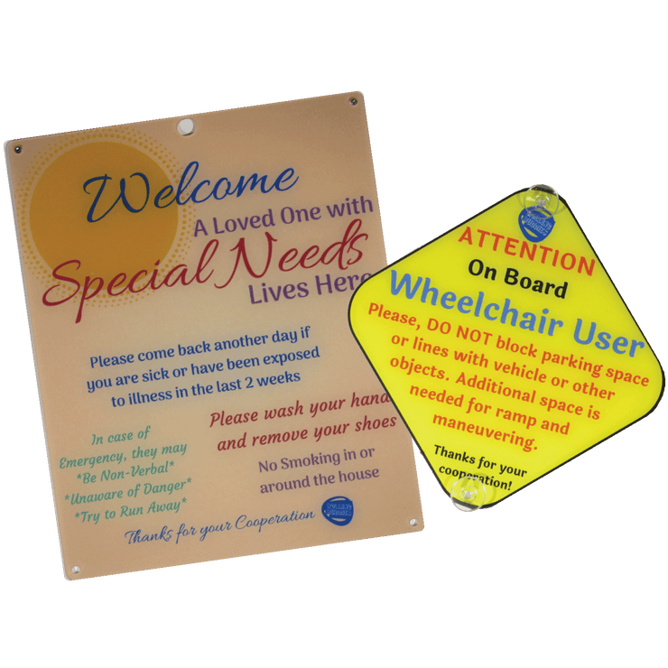 Bundle Special Needs Orange Sun Design Plastic Door and Wheelchair User On Board Plastic Sign