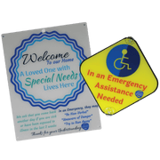 Bundle Special Needs White Blue Circle Design Plastic Door and Emergency Car Plastic Sign