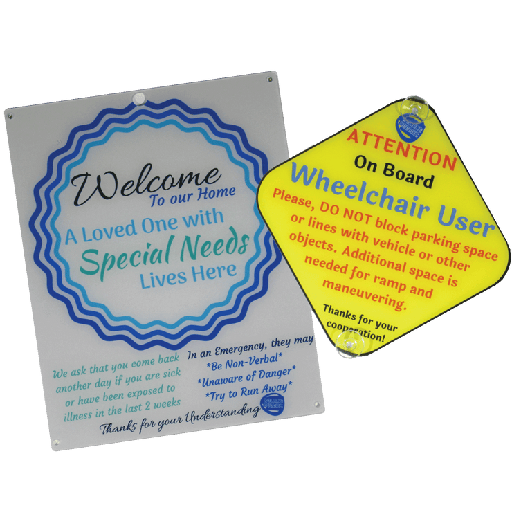 Bundle Special Needs White Blue Circle Design Plastic Door and Wheelchair User On Board Car Plastic Sign