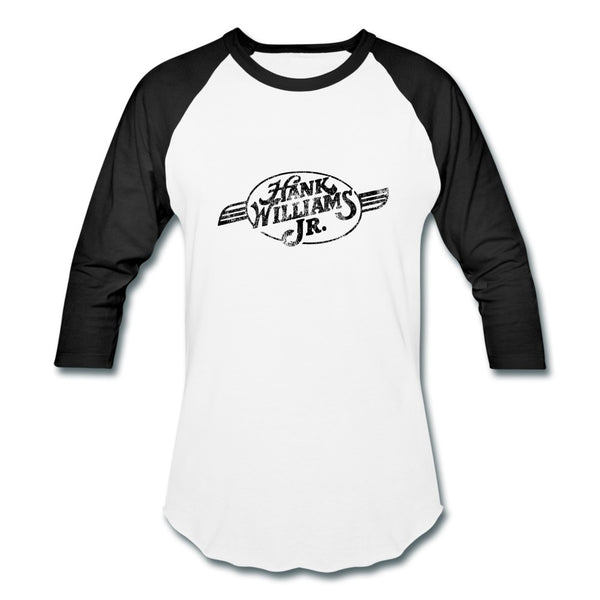 Distressed Black Belt Buckle Logo Baseball Tee
