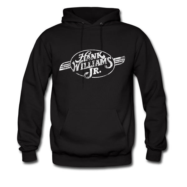 Distressed White Belt Buckle Logo Pullover Hoodie