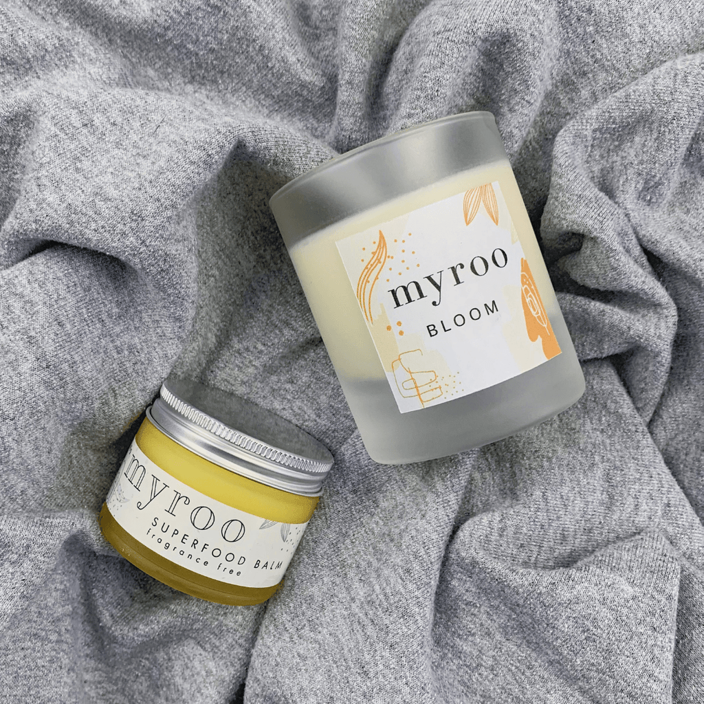 Myroo skincare bloom candle soy eco vegan