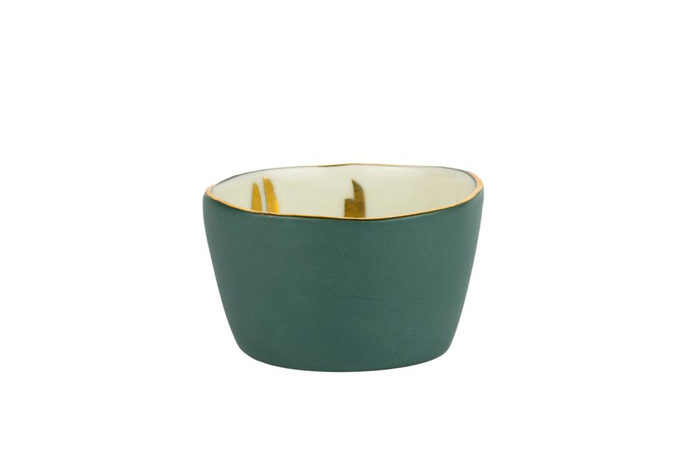 Porcelain Mask + Scrub Mixing Bowl - Teal + Gold Design