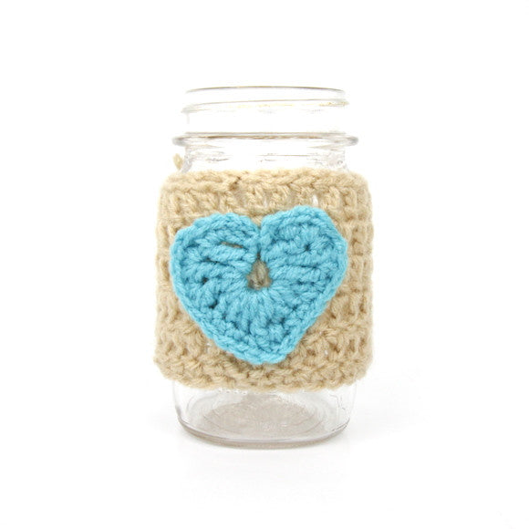 Mason Jar Koozie (Blue and Tan)