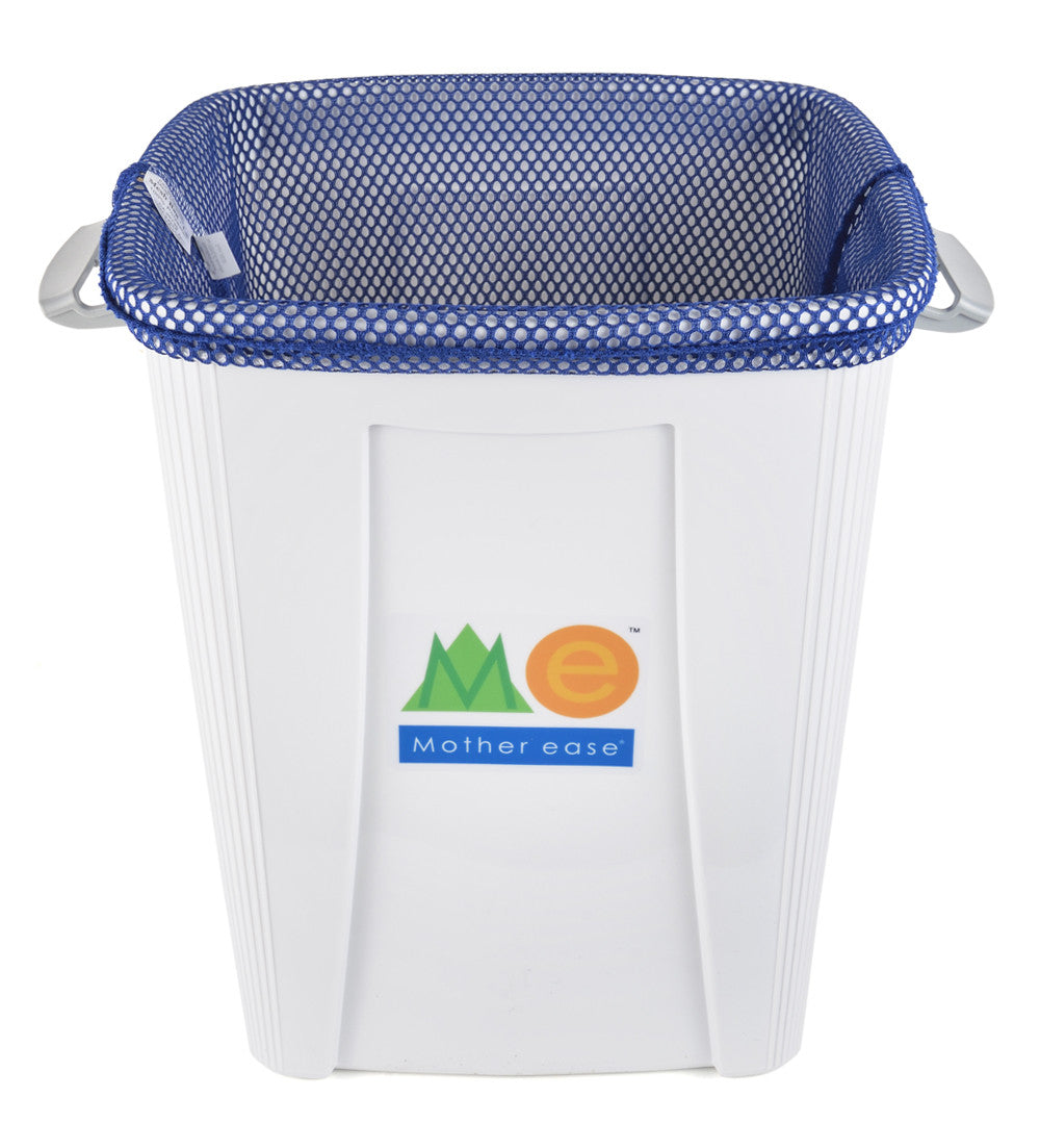 Blue Diaper Pail Mesh Liner Bag inside Pail