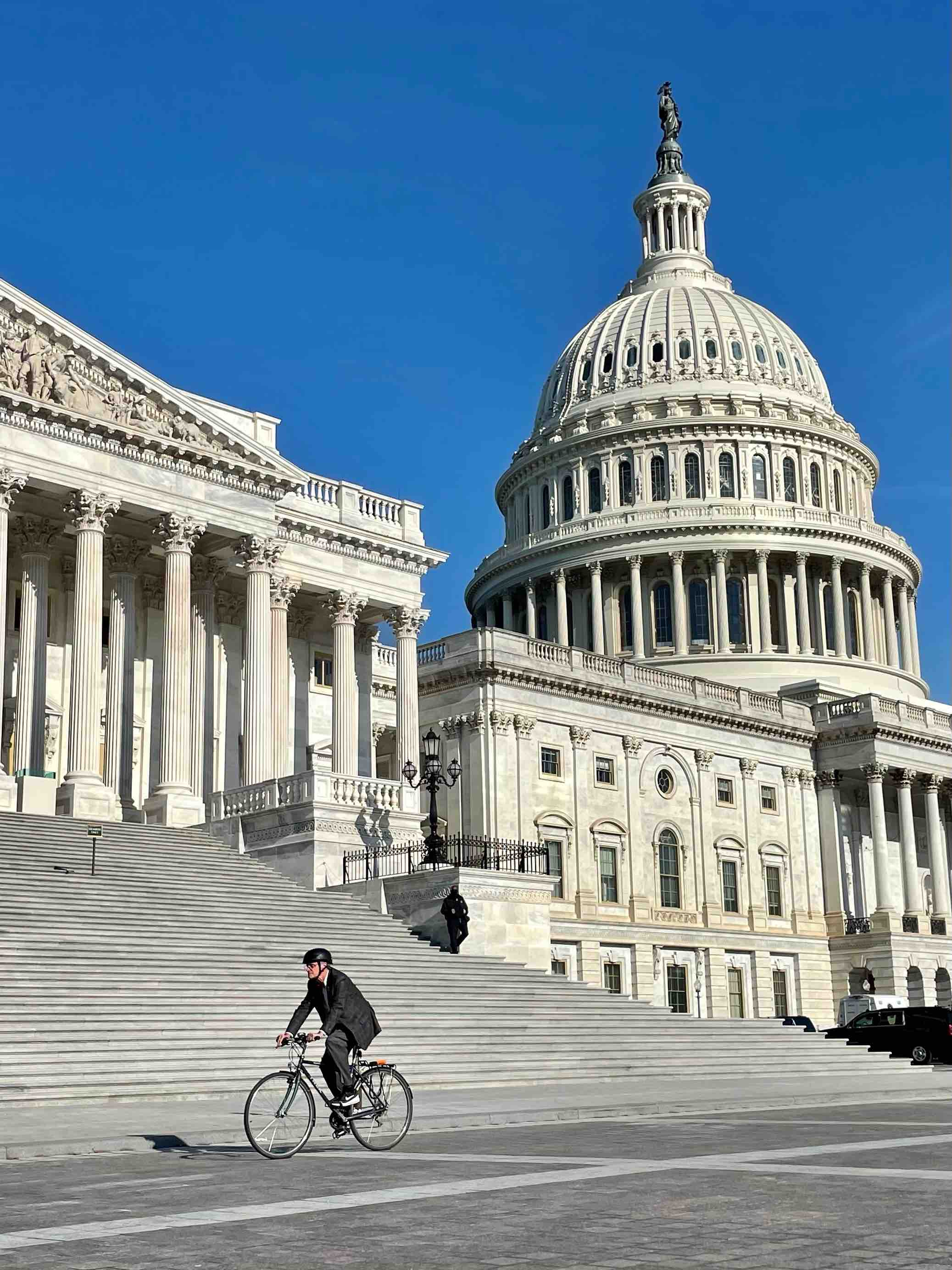 Rep. Earl Blumenauer arriving at the U.S. Capitol on his bike.