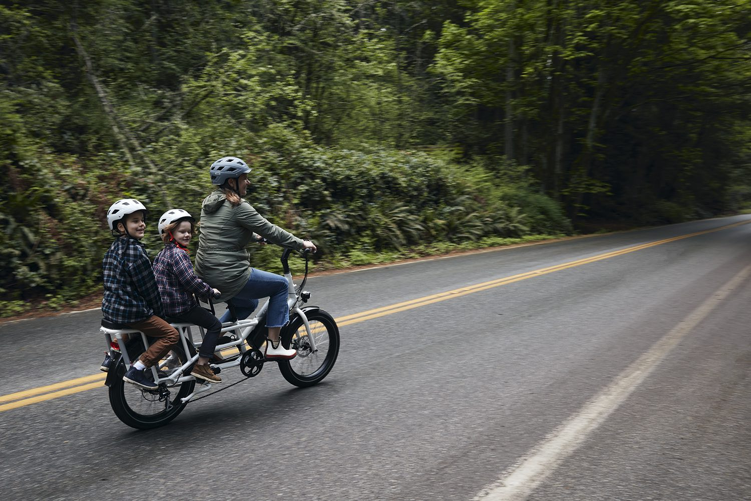A mother rides her RadWagon with her children in nature.
