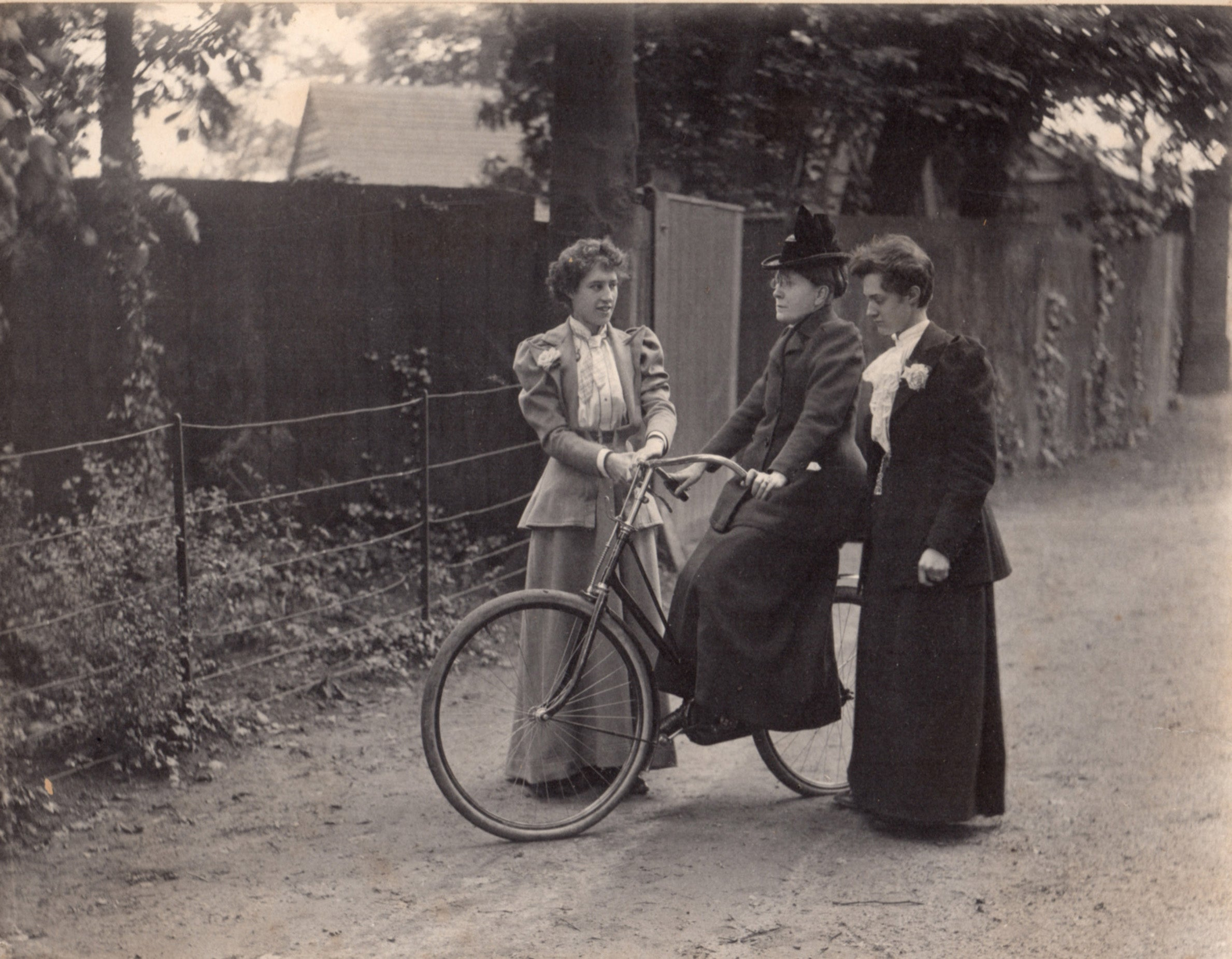 Social reformer Frances Willard rides her bike in a historical photo.