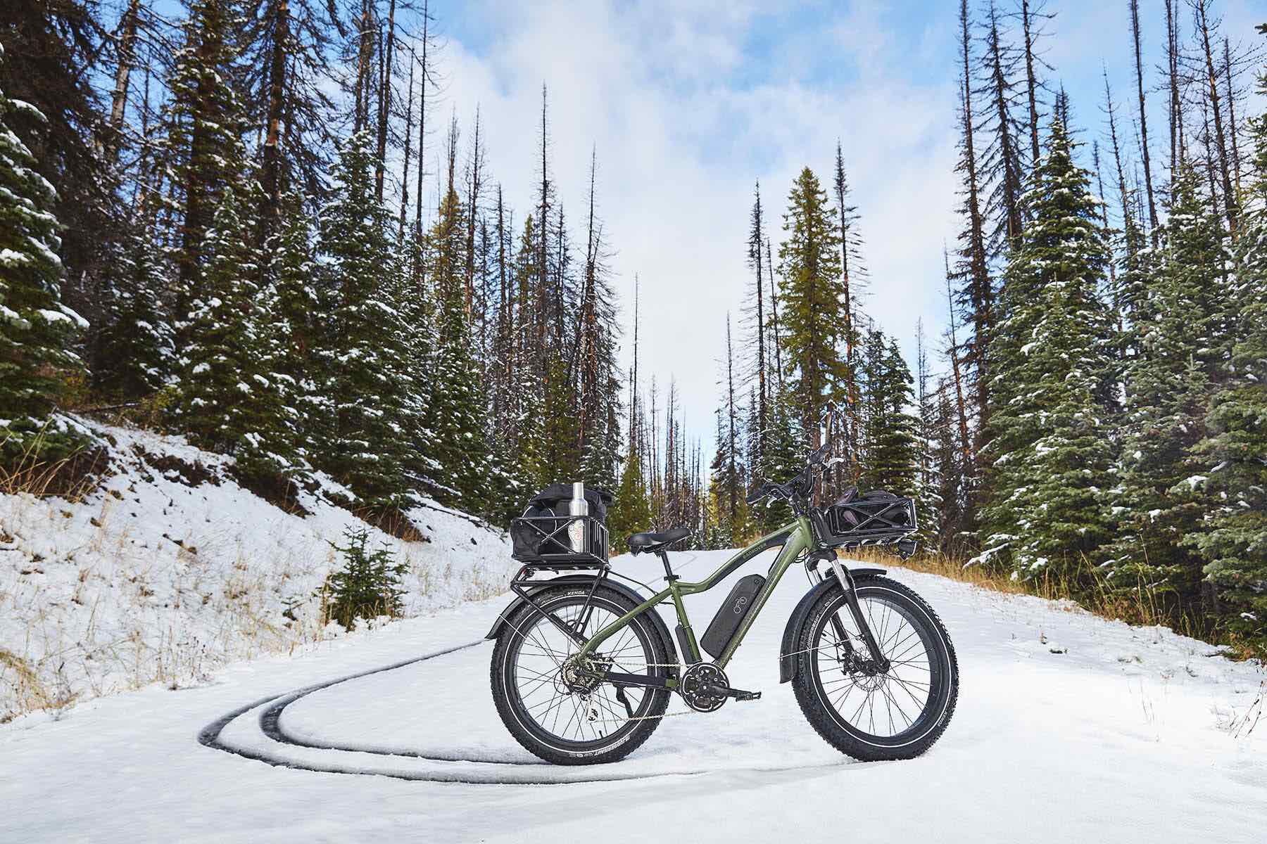 A RadRover electric fat tire bike on a snowy mountain.