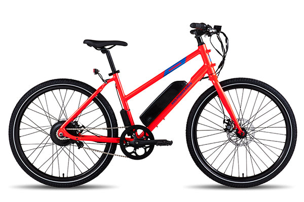 A red RadMission electric metro bike