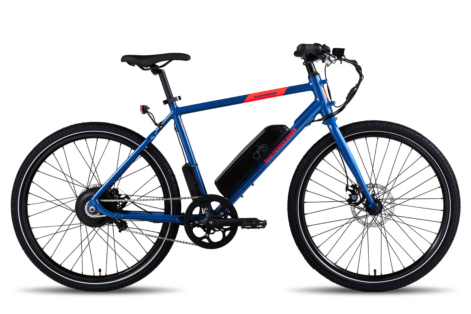 A blue RadMission electric metro bike against a white background.