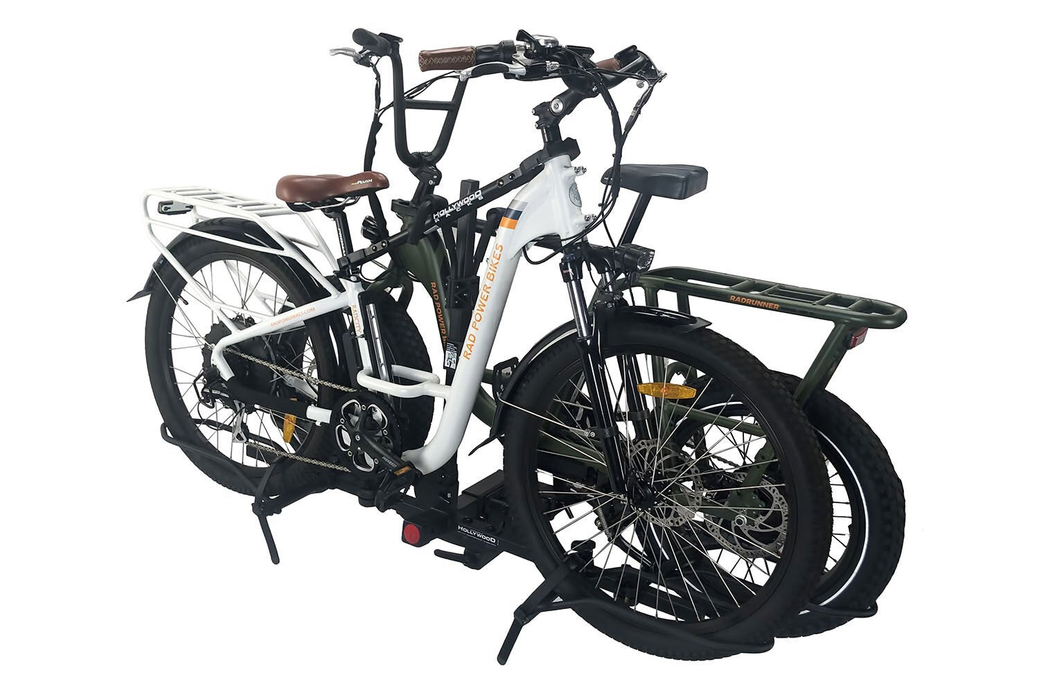 A RadRunner and RadMini attached to a Hollywood ebike rack.