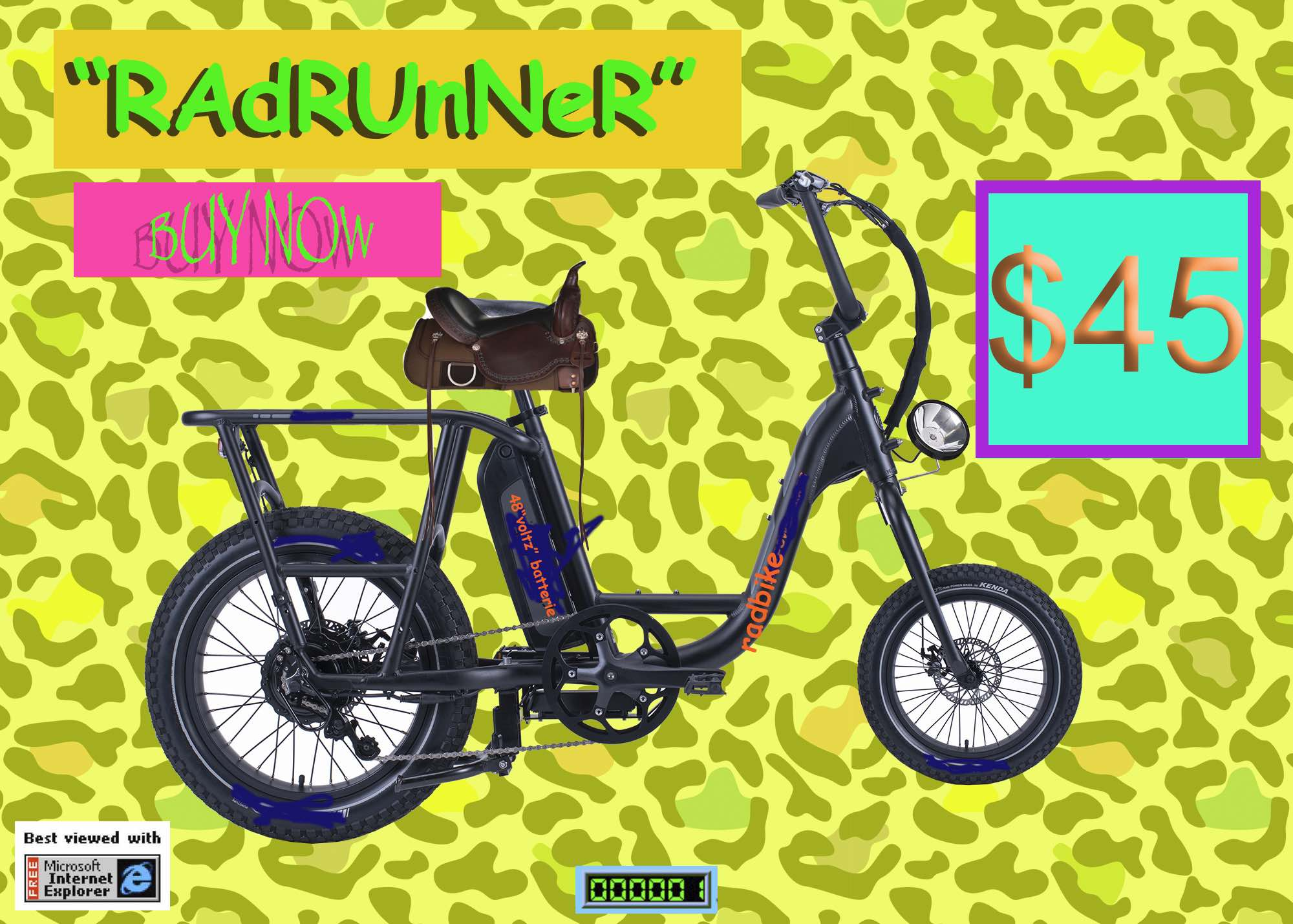 A parody ad showing a knock-off ebike with out of date graphics.
