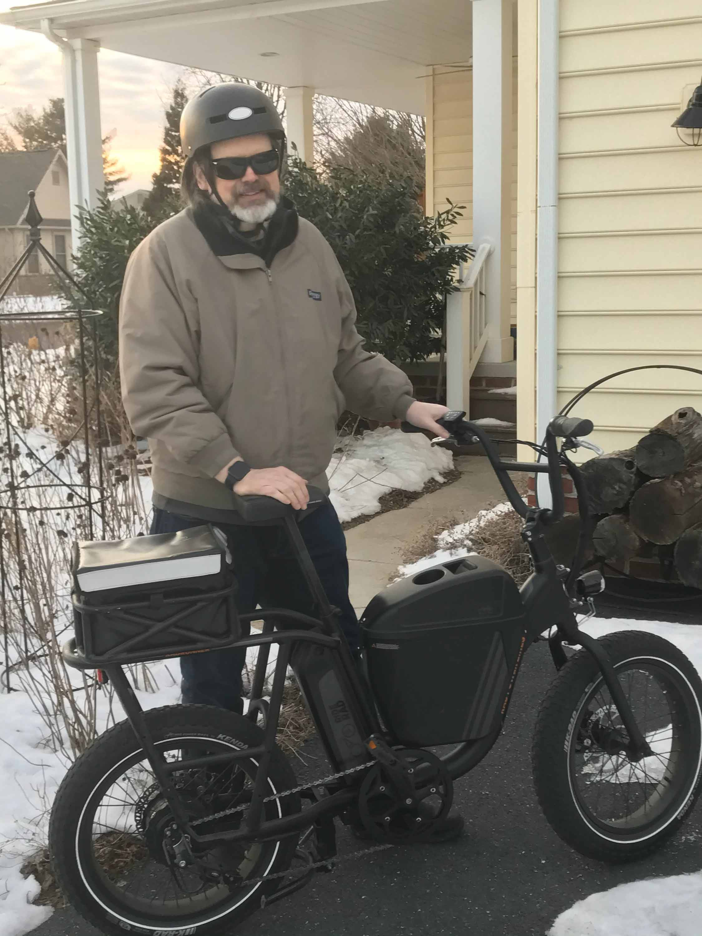 Dr. Chris Royer with his RadRunner electric utility bike.