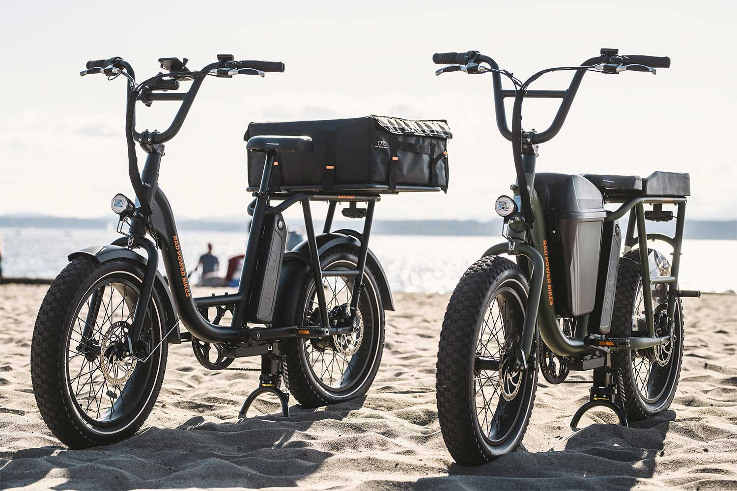 RadRunner e-bikes parked on the beach