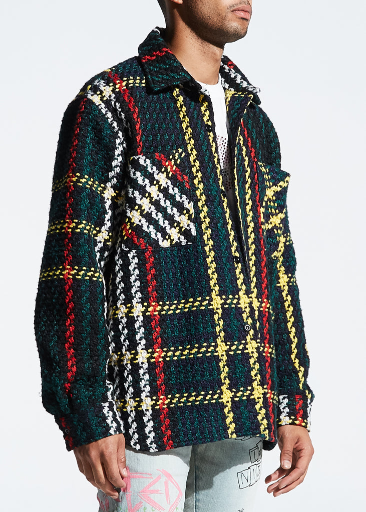Interlaced Woven Plaid Overcoat (Multi)