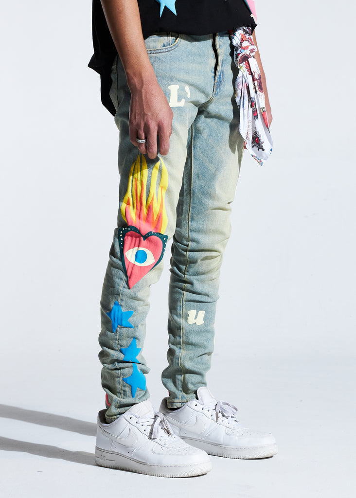 Hopkins Puff Print Denim (Blue)