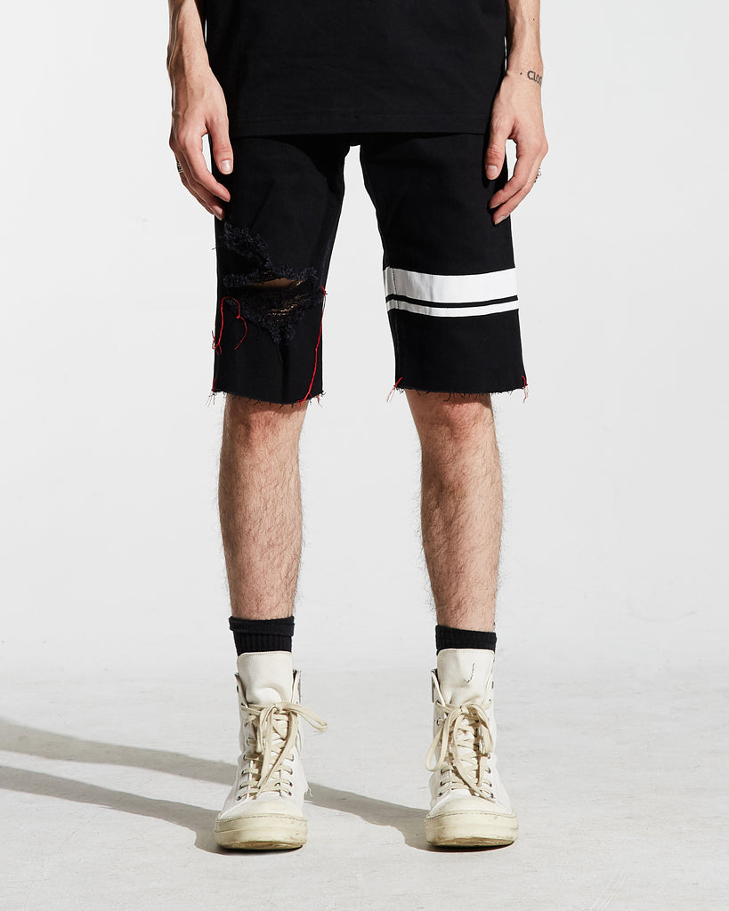 Thompson Striped Denim Shorts (Black)