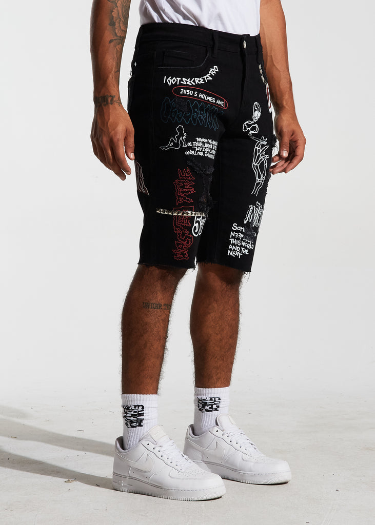 Barker Denim Shorts (Black)