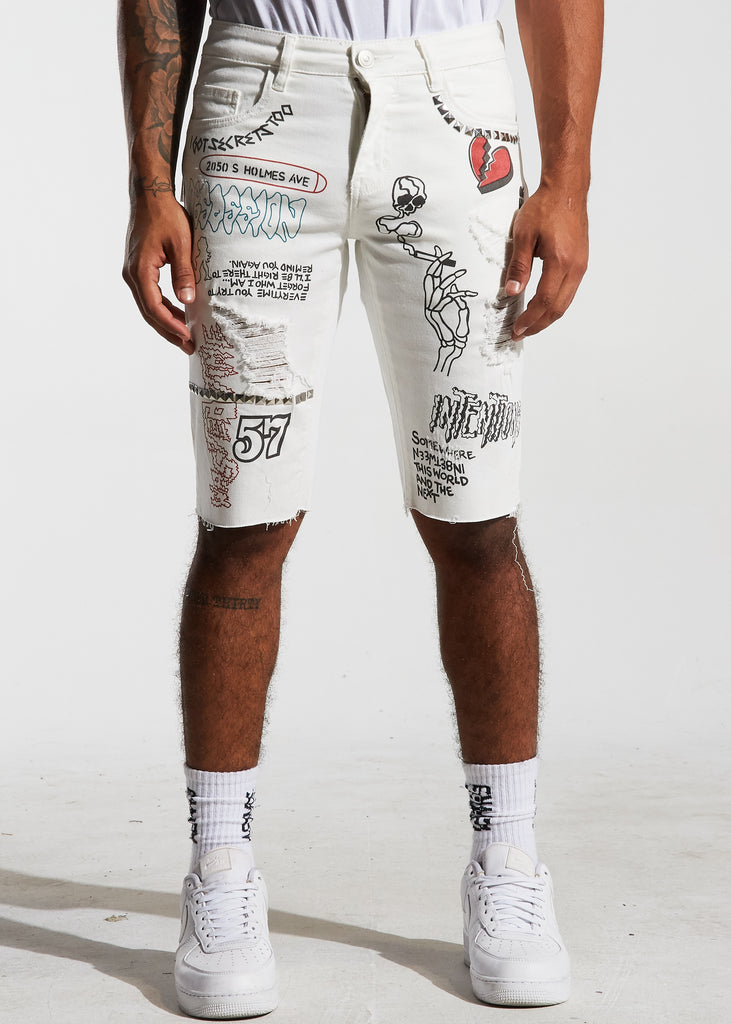 Barker Denim Shorts (White)