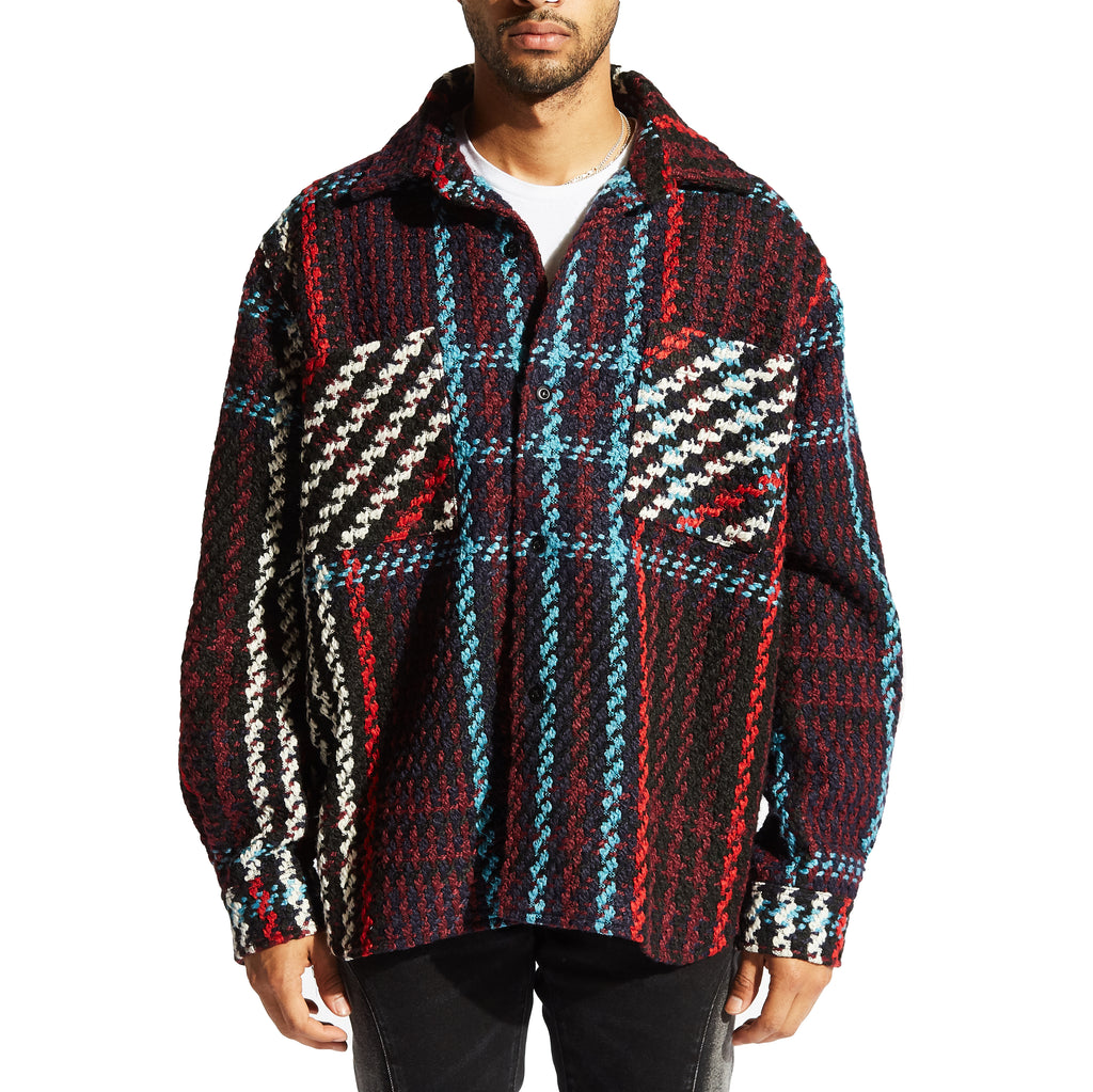 Interlaced Woven Plaid Overcoat