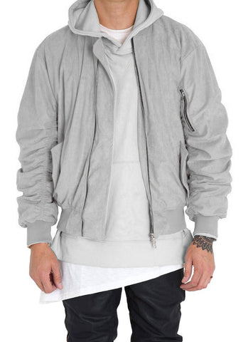 Bird Bomber (Light Grey Suede)
