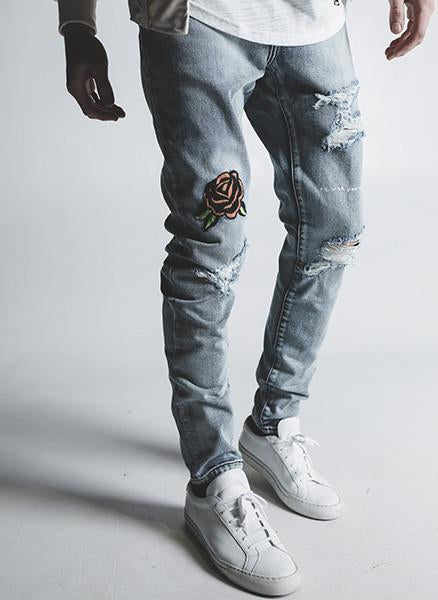 GISELLE DISTRESSED DENIM (BLUE)