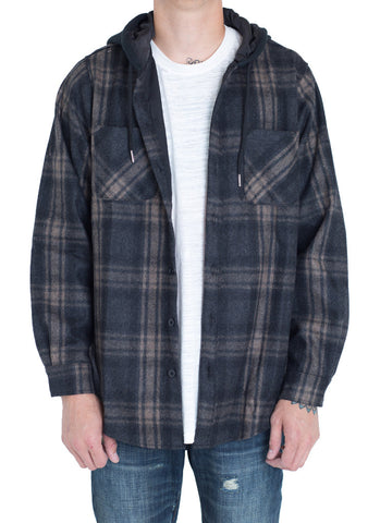 Kerr 2 Hooded Wool Flannel (Black/Tan)