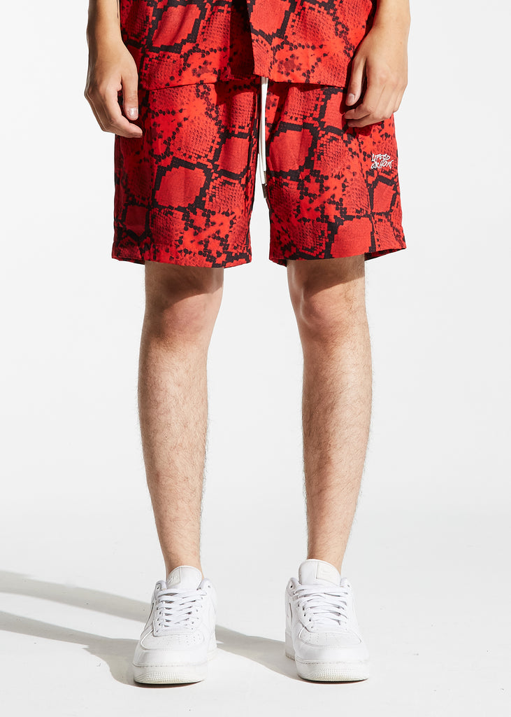 Ocean Shorts (Red Snakeskin)