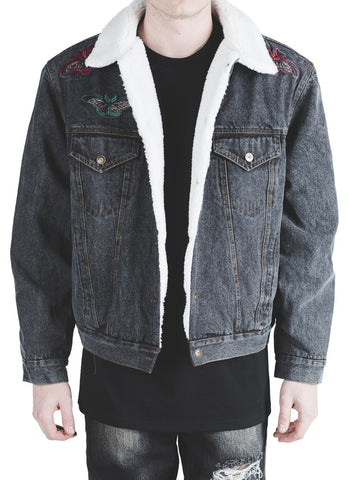 Kershaw Embroidered Denim Sherpa Jacket (Black)