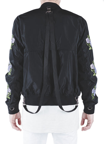 Rosa Strapped Bomber Jacket (Black)