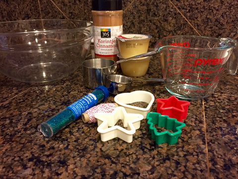 Ingredients for cinnamon Christmas Ornaments