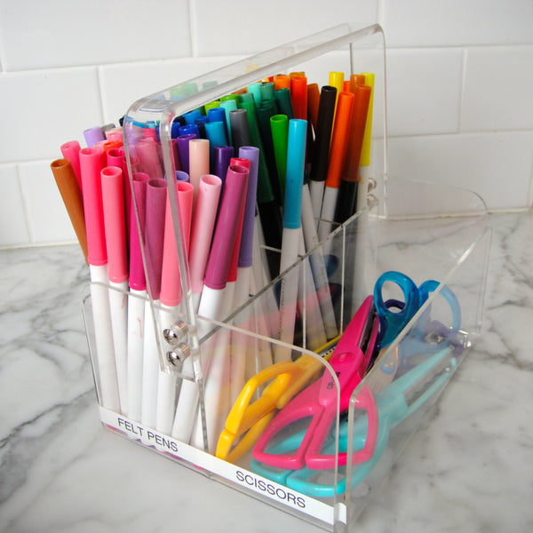 The perfect caddy to organize your kid's pens and scissors