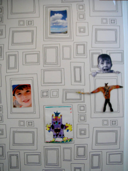 This wallpaper is a great way to display your kid's artwork