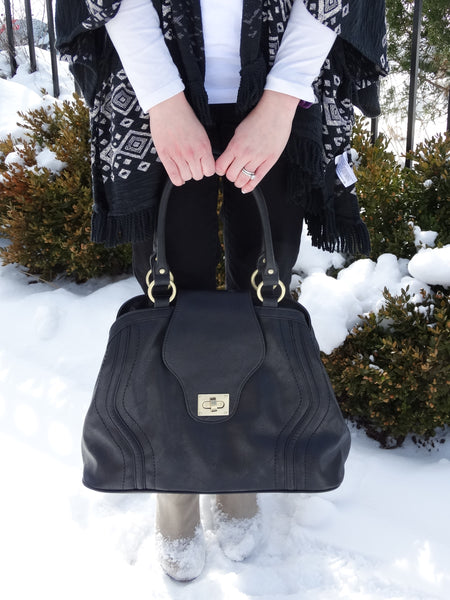 The Gail Satchel Diaper Bag in Black reviewed by Our Blended Home