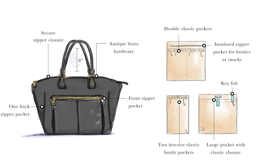 Our Lily Tote Diaper Bag features antique brass hardware.