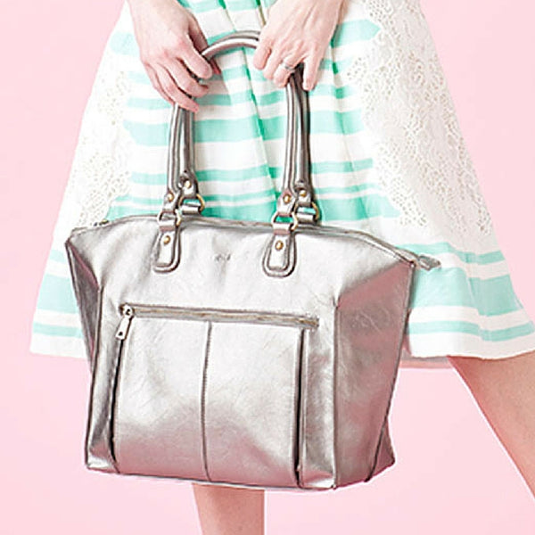 The Lily Tote Diaper Bag in pewter by Newlie