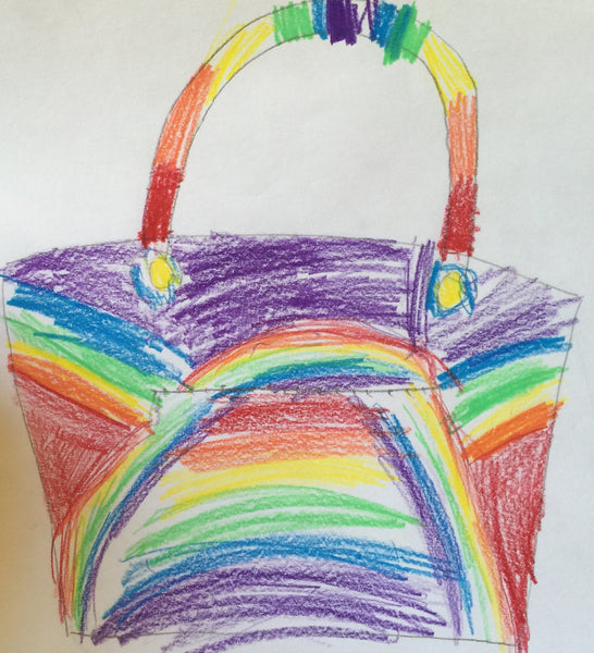 The Lily Tote with a Rainbow Pattern Designed by my daughter
